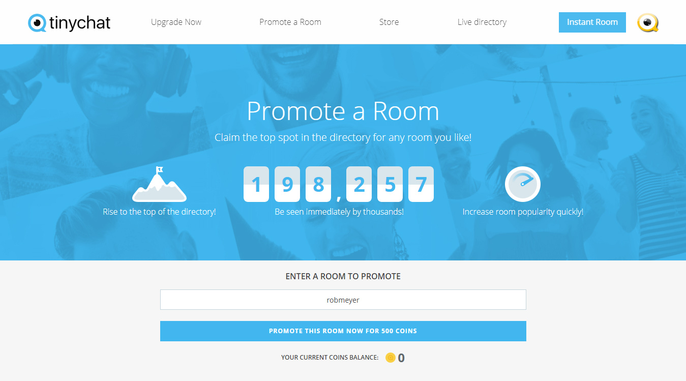 Tinychat Promote a Room