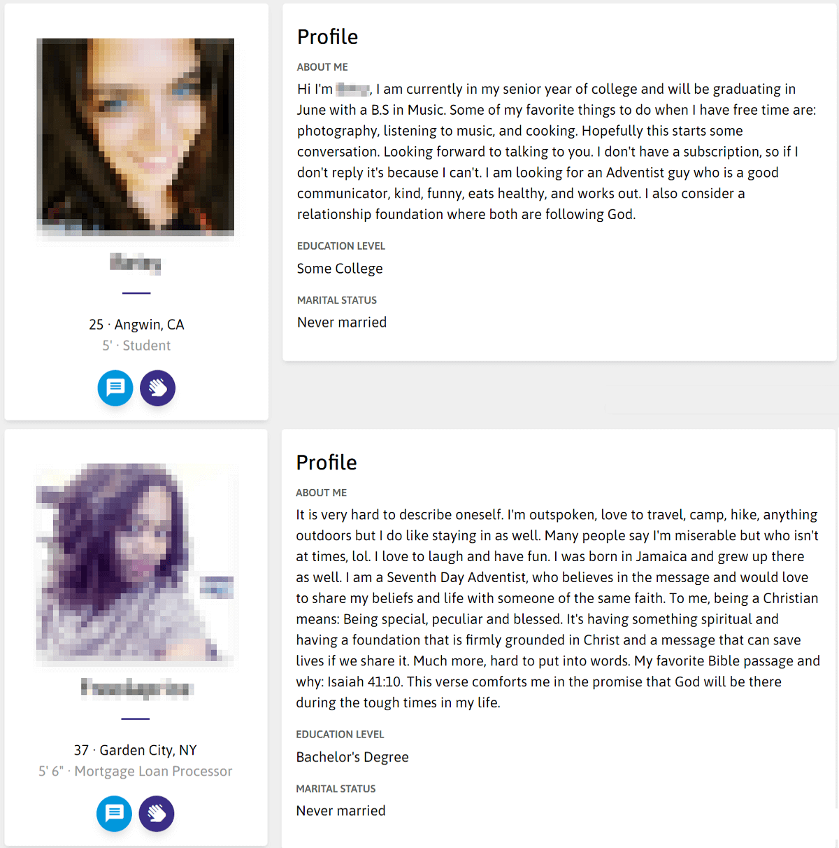 Adventist Singles Female Profile
