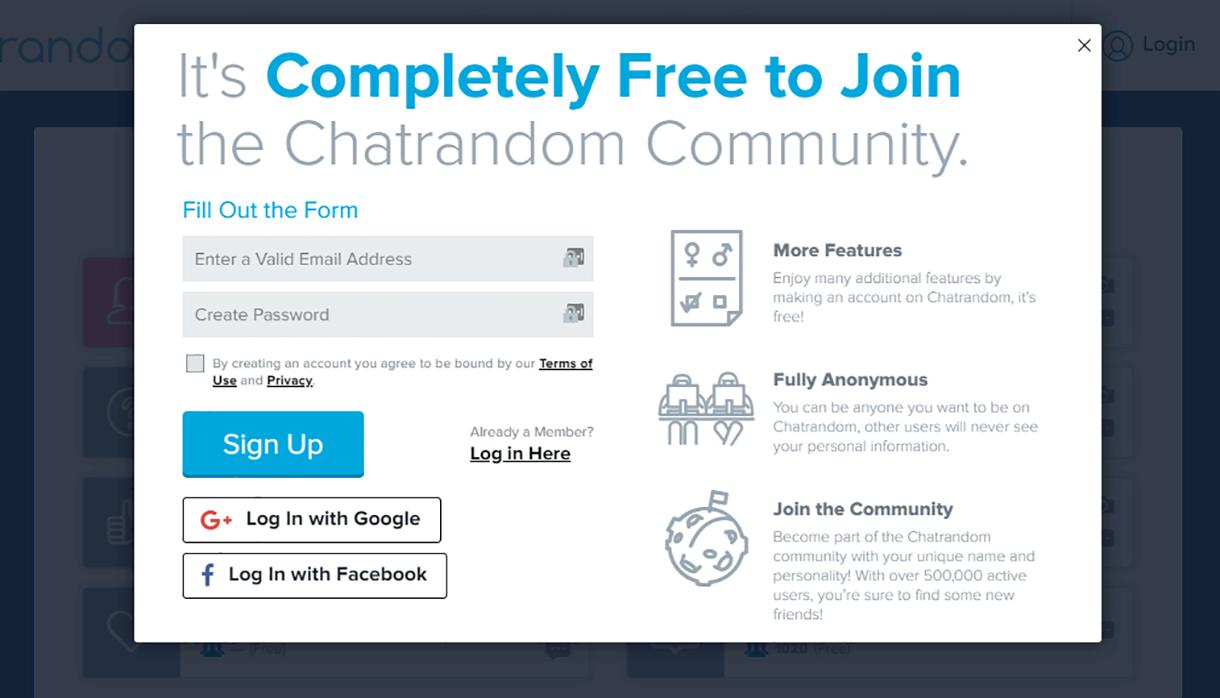 Chatrandom Sign up