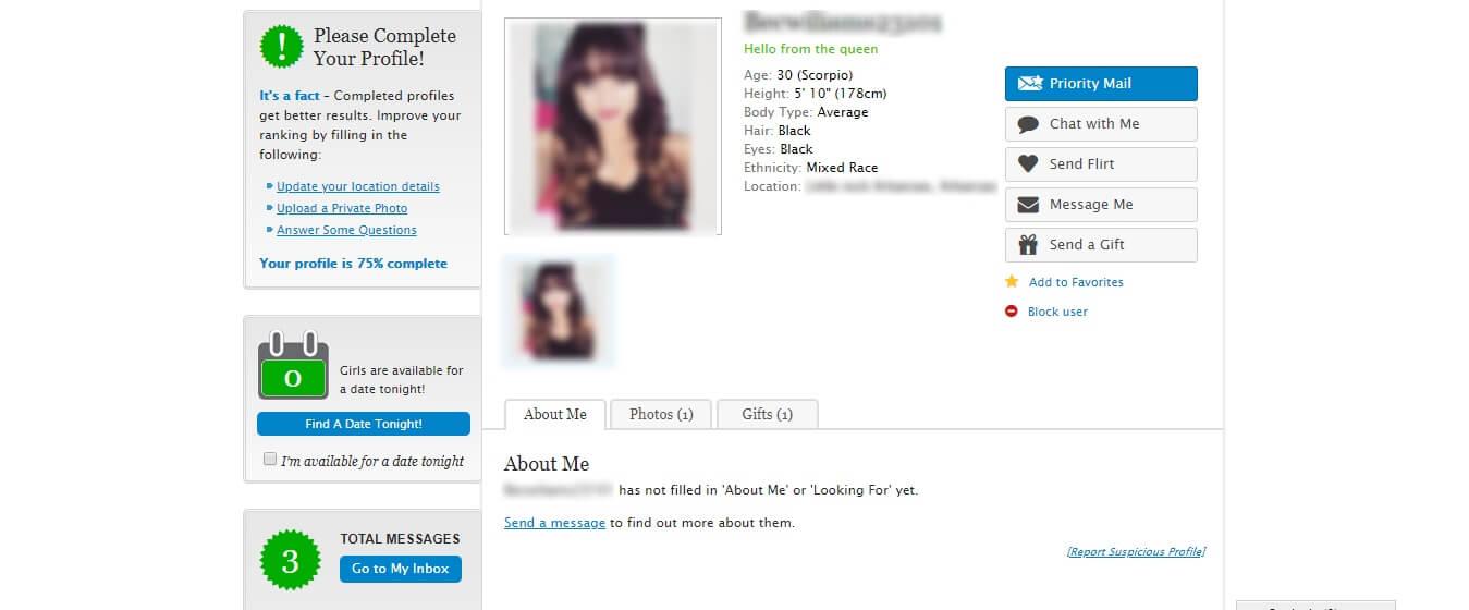 Established Men Female Profile