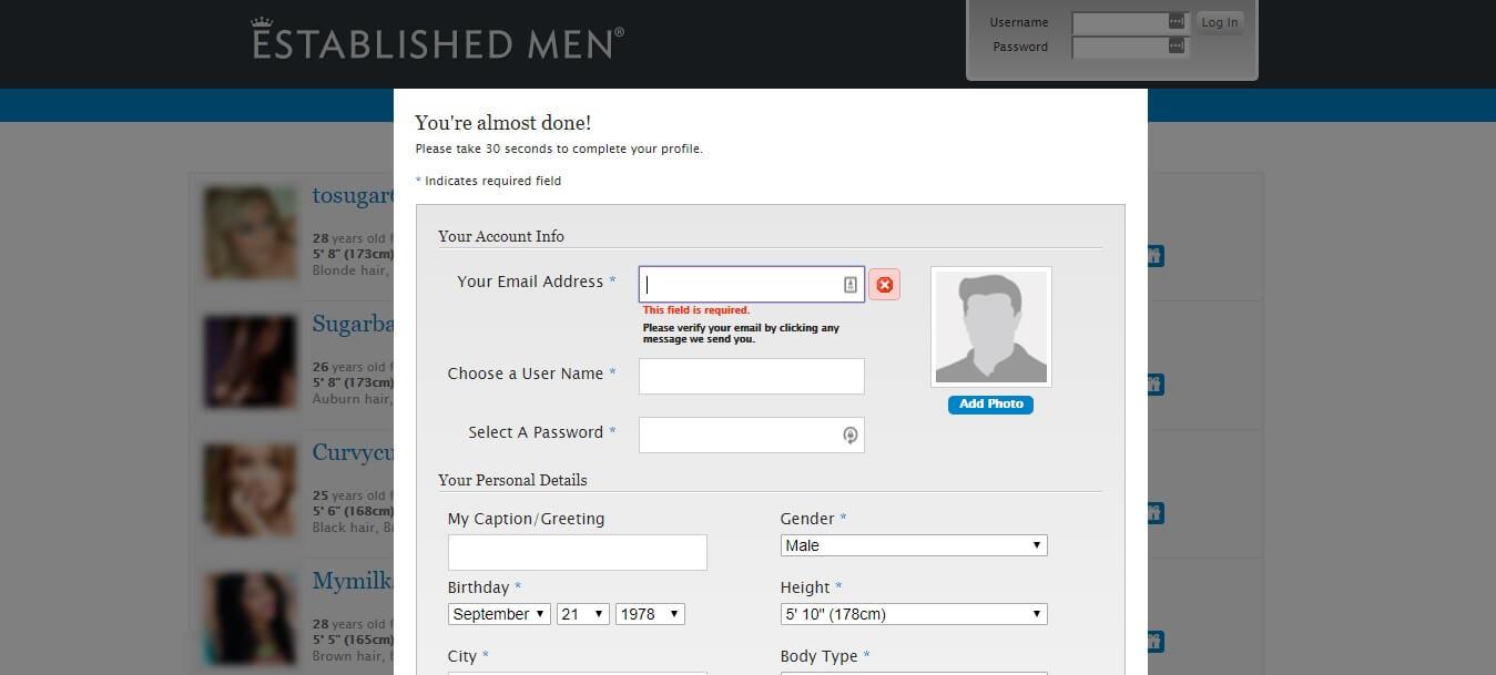 Established Men Registration Step