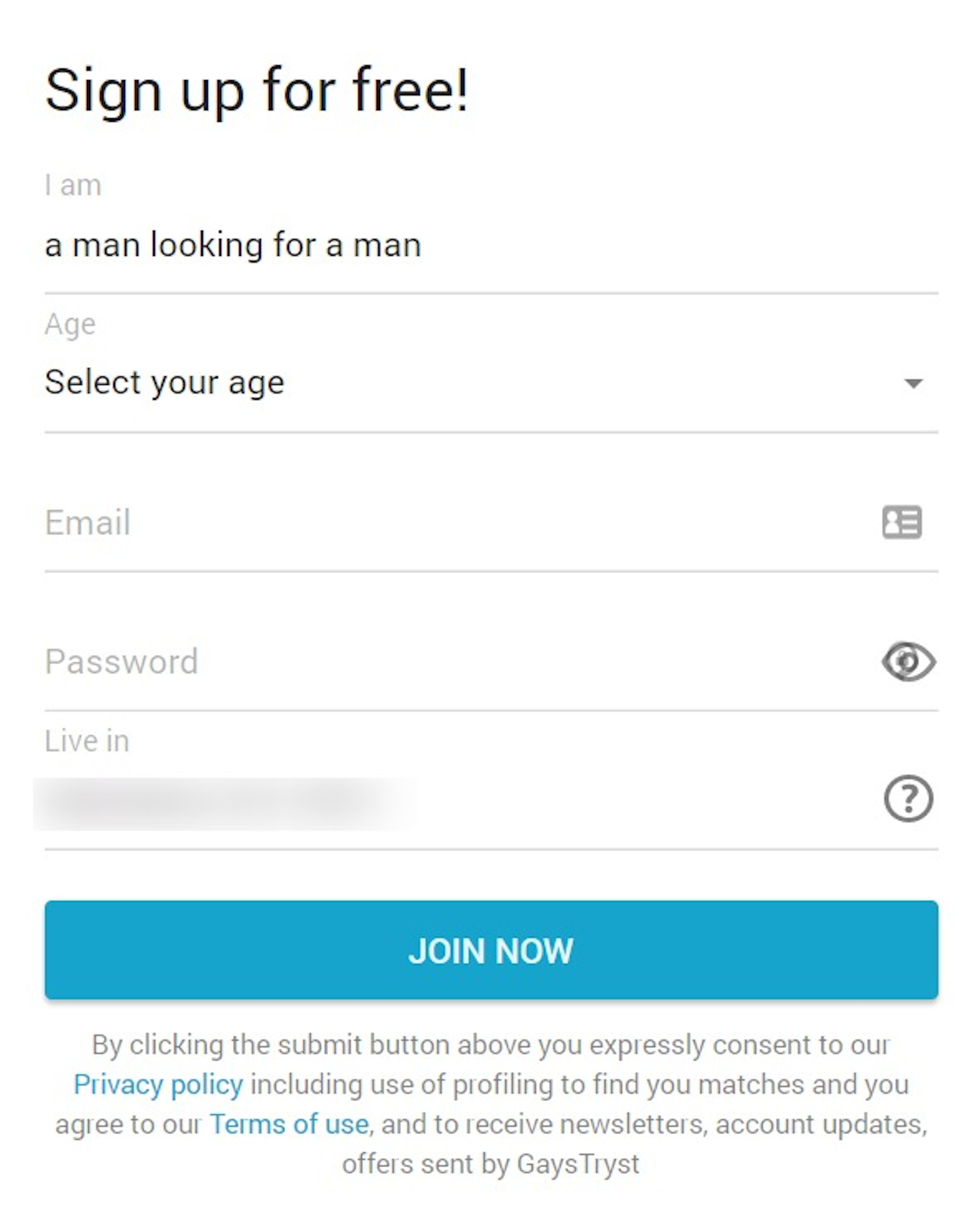 GaysTryst Sign Up