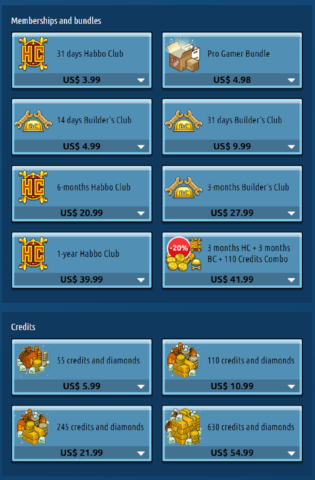 Habbo Prices USA