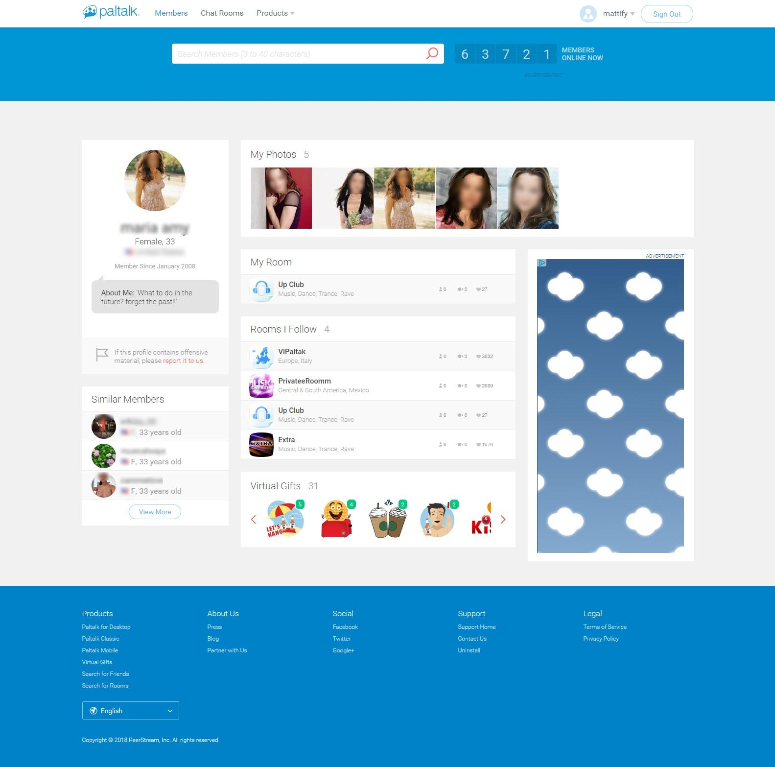 Paltalk Female Profile Page