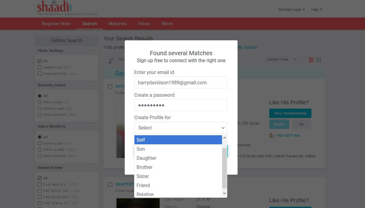 How to edit shaadi com profile