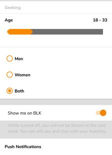 BLK search settings