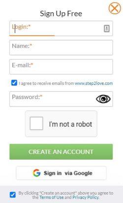 Step2Love Registration Page