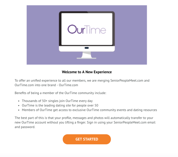 SeniorPeopleMeet merged with Ourtime.com