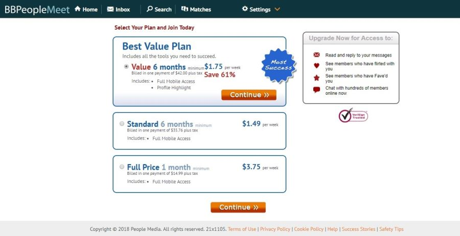 BBPeopleMeet Price Table