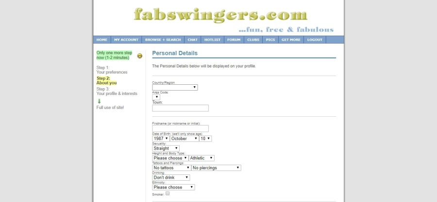 FabSwingers Personal Details