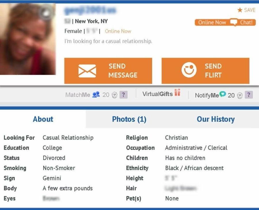 SeniorPeopleMeet profile
