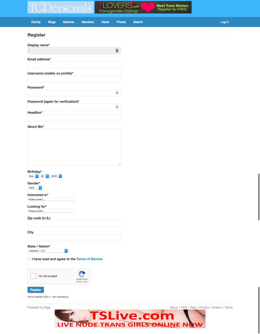 TGPersonals Registration