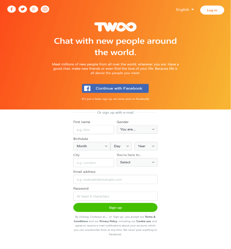 Twoo Signup