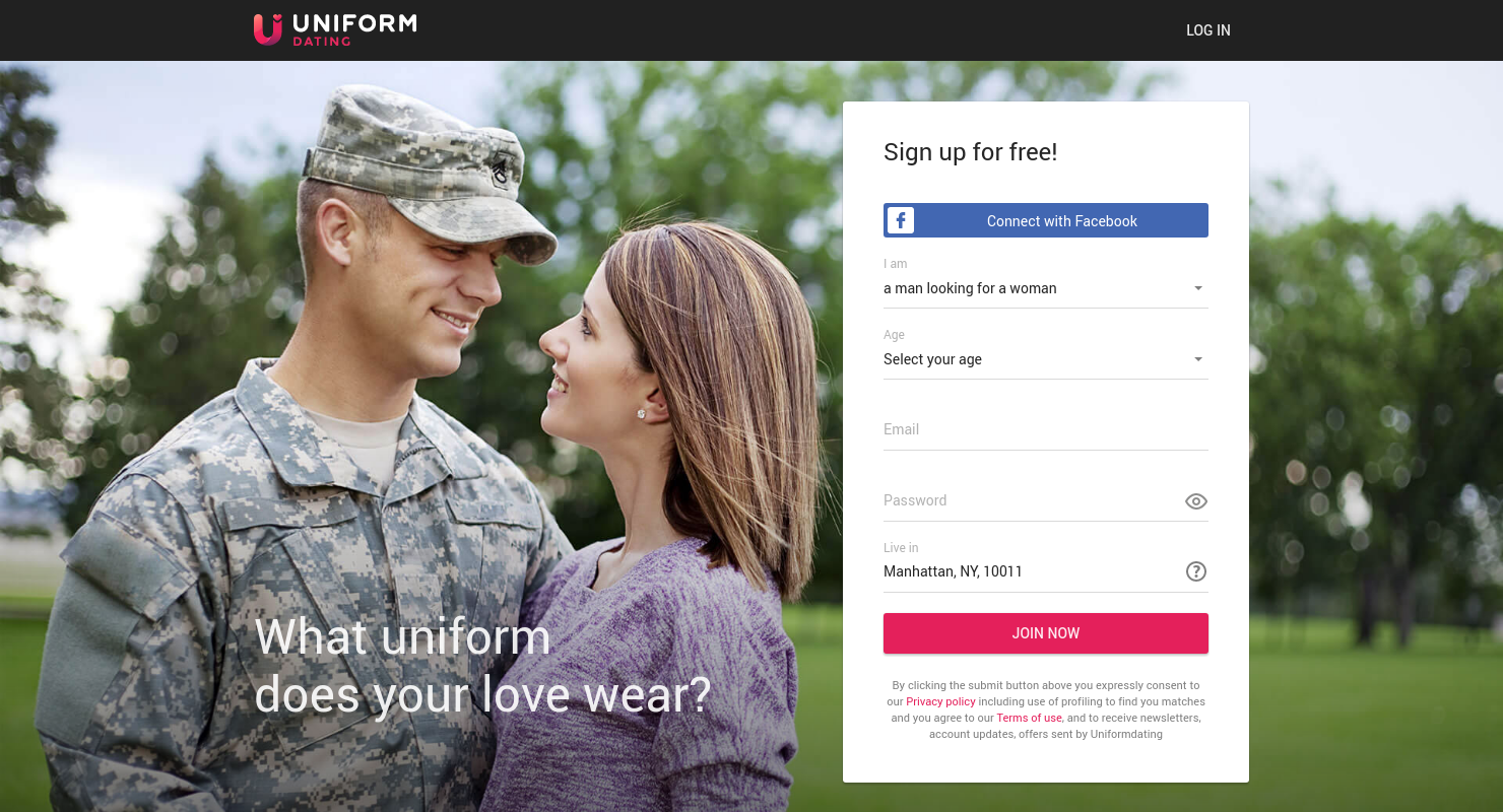 Dating website uniform